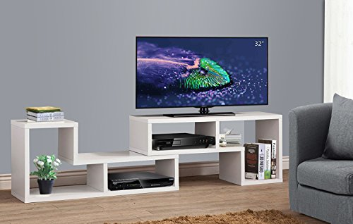 3-in-1 Versatile TV Stand Bookcase Display Cabinet by DEVAISE (New Style-White ( 0.9' thickness))