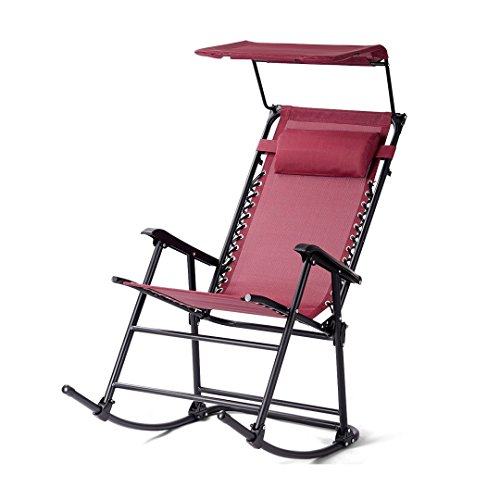 Portable Folding Rocking Chair Outdoor Rocker Porch Durable Construction Patio Zero Gravity Recliner Furniture w/Sunshade Canopy and Pillow - Burgundy ()