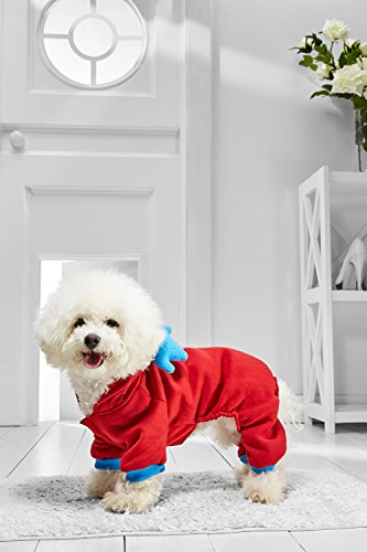 Boston Terrier Costumes (Small Dog Reindeer Hoodie For Bichon Frise Mini Poodle Boston Terrier Jack Russell (Medium Size, red, light blue))