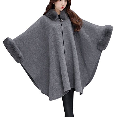 (GOVOW Fashion Woollen Coat for Women Jacket Casual Outwear Fur Collar Parka Cardigan Cloak )