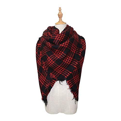 Happy-L Scarves, Women's Fall Winter Scarf Warm Soft Kerchief Wrap Shawl Scarves Classic Tassel Tartan Plaid Scarf, Fashion Muffler. (Color : Red, Size : 53.15 Inch Dia')