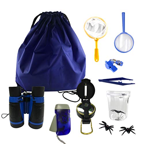 Odowalker Bug Catching Kit for Kids Outdoor Adventure Kit for Kids Boys & Girls Blue Backpack Binoculars, Flashlight, Compass, Bug Collector, Whistle, Magnifying Glass for Camping,Hiking, Educational