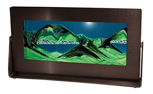 Original Exotic Sands Made in the USA - Medium Black Frame (Summer Turquoise) Black Anodized Aluminum Frames for contemporary Homes or Offices. Horizontal Black Rainbow Vision Original Black Anodized