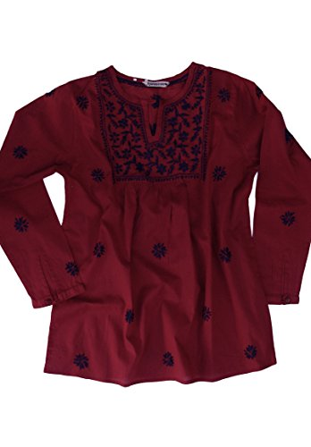 Ayurvastram Pure Cotton Hand Embroidered Boho Peasant Blouse Top Tunic – XS: Body Chest 32.5 inches, Navy Embroidery on Red