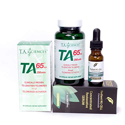 T.A. Sciences|TA-65 Supplement|1x90 Capsules|250 U|Free .00 Value|Rg-Cell Concentrated Restorative Serum with EGF &AFA Algae