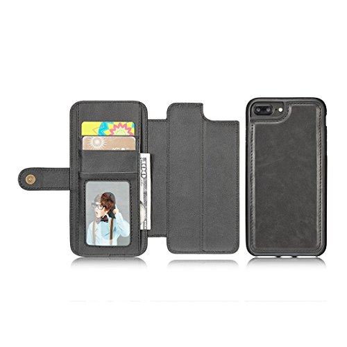 Plus Détachable Retro Pu Et Cartes Texture De Titulaire Horizontale Black Avec Simple Étui Fentes Des Cadr S Iphone Pour Flip En Portefeuille Protection amp; Simulation Cuir Fashion 6 Xq8zAz