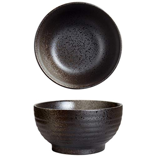Rice Bowls Salad Bowl 7 Inch Large Household Ramen Bowl 1200ml Large Capacity Ceramic Kitchen Decorating Tableware (Color : Black, Size : 18x9cm)