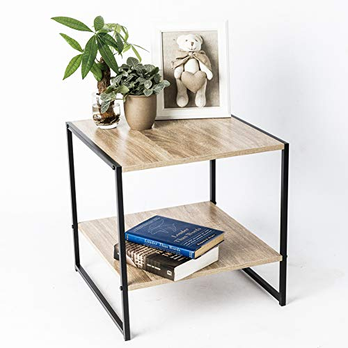 C-Hopetree Vintage Coffee Table Small Square Occasional Side Table with Storage Shelf Mid Century Industrial Wood Look Metal Frame Review