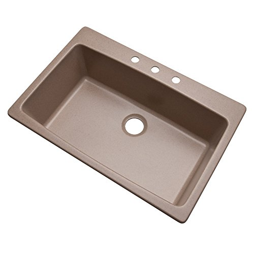 Dekor Sinks 70315Q Northampton Composite Granite Single Bowl Kitchen Sink with Three Holes, 33