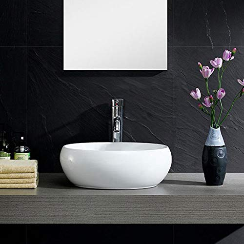 Modern Round White Ceramic China Vessel Sink for Bathroom Vanity ()