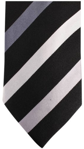 Black Diagonal Striped Tie - Knightsbridge Neckwear Mens Kensington Diagonal Striped Silk Tie - Black/Grey