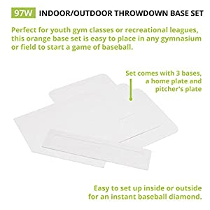 Champion Sports Throwdown Base Set: 5 Youth League Kids Baseball & Softball Rubber Throw Down Bases - Boys & Girls Training & Practice Equipment
