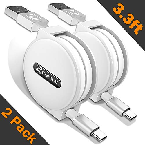 Retractable USB Type C Cable, CAFELE 2 Pack/3.3ft USB A to USB C Charger Fast Charging Cable Compatible For Samsung Galaxy S9 Note 8 S8 Plus,LG V30 V20, Google Pixel, Moto Z2, MacBook and more - White