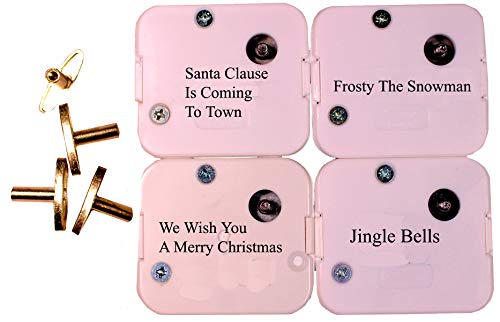 Creative Hobbies 4 Christmas Tunes Sankyo 18 Note Wind Up Music Box Musical Movements Winding Keys