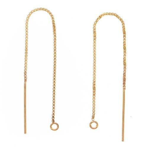 Gold Threader Thread Earrings - Beadaholique 14K Gold Filled Ear Threads Threaders 3 1/4 In. Box Chain w/Loop