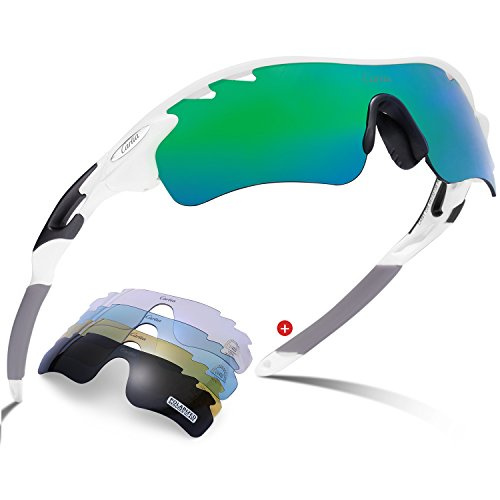 Sports Sunglasses - Carfia Polarized for Men Women Cycling Sunglasses (White Frame Green Lens, Multi)