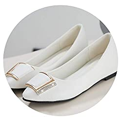 Jiesengtoo Increase Height Flat Women Shoes Spring Autumn Comfort Pointed Toe Slip On Women Flats 2019 White 9