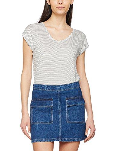 PIECES Pcbillo Tee Noos, Camiseta Para Mujer Multicolor (Bright White Stripes:Black)