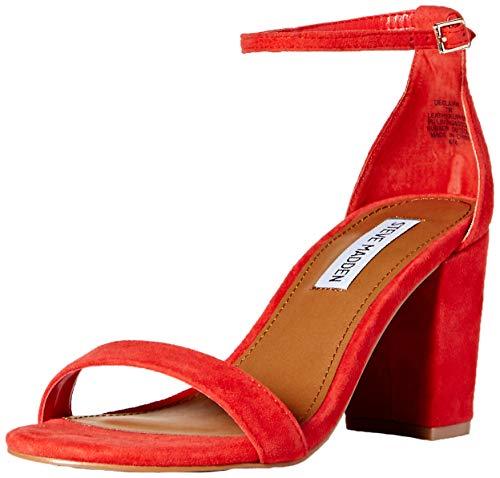 (Steve Madden Women's DECLAIRW Heeled Sandal, red Suede, 8 W US)