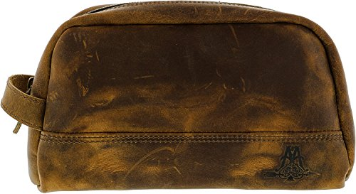 Ace & Archer Men's Dopp Travel Bag Leather Cosmetic - Brown by Ace & Archer