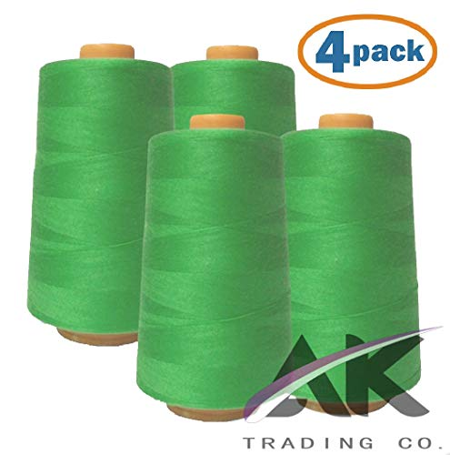AK Trading 4-Pack Lime Green All Purpose Sewing Thread Cones (6000 Yards Each) of High Tensile Polyester Thread Spools for Sewing, Quilting, Serger Machines, Overlock, Merrow & Hand Embroidery