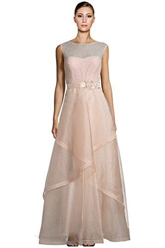 Teri Jon Bead Embellished Tulle Evening Ball Gown Dress