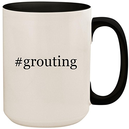 #grouting - 15oz Ceramic Colored Inside and Handle Coffee Mug Cup, Black