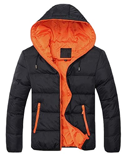 Contrast Oversized Puffer Zip Jacket Patched Pocket Men Howme Warm Pattern1 Hoodie aR8fXU