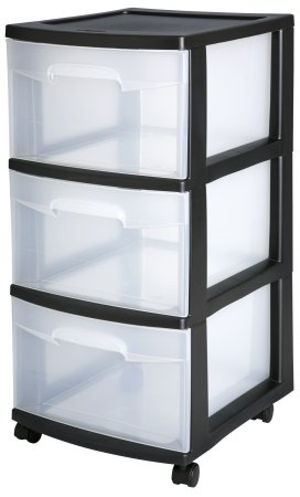 Sterilite 3-Drawer Storage Cart, Clear with Black Frame (2-Pack) | 2 x 28309002 (Craft Sterilite Cart)
