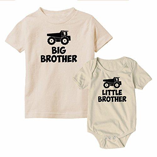 We Match! Big Brother & Little Brother Dump Trucks Matching Kids T-Shirt & Bodysuit Set (NB Bodysuit, Toddler 4T, Natural (Natural Big Brother T-shirt)