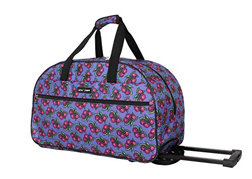 Betsey Johnson Luggage Designer Pattern Suitcase Wheeled Duffel Carry On Bag (One Size, Cherry Pie)