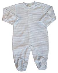 Kissy Kissy Baby Boys\' Stripe L/S Footie -Blue - 0-3 Months
