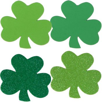 Saint Patrick's Foam Shamrocks Shapes Glitter Green, Glitter Lime Green and Green Assortment (2 Packs/24 Count)