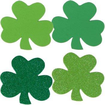 Saint Patrick's Foam Shamrocks Shapes Glitter Green, Glitter Lime Green and Green Assortment (2 Packs/24 Count)