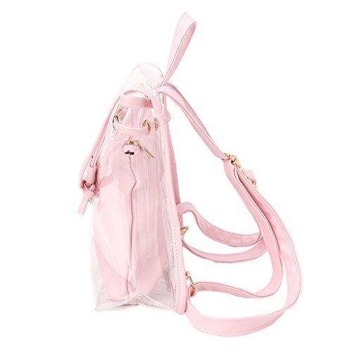 Dos à en Dos De Sac 1 Dos 2 Transparent Voyage Plage Tajie à Pink Transparent Sac Femmes à Sac nxBOzqp