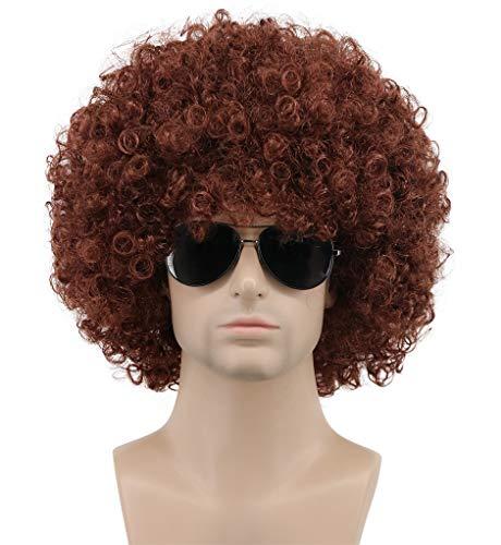 Karlery Mens Women Short Curly Black Green Colorful Rocker Wig California Halloween Cosplay Wig Anime Costume Party Wig (Brown)]()