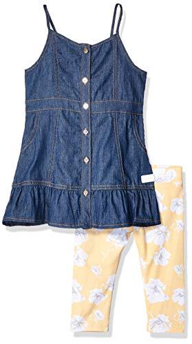 - 7 For All Mankind Kids Girls' Toddler Denim Dress and Legging Set, Dark Wash, 2T