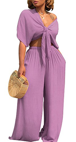 Voghtic Women Purple 2 Piece Outfits Jumpsuit Rompers Tie Front Top and Loose Long Pants (Suit Piece Pant Two)