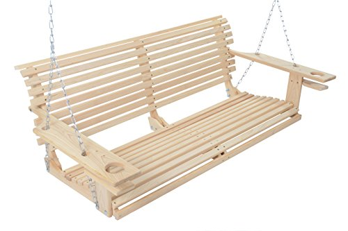 Cypress Swings - 4 Foot Handmade Cypress Porch Swing with Cupholders Proudly Handmade in the USA
