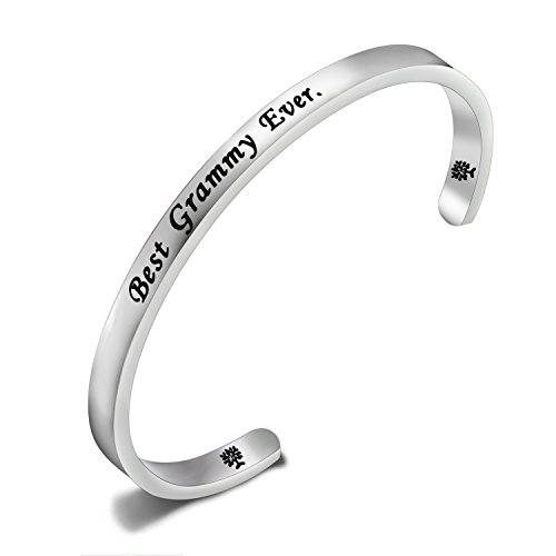 FEELMEM Best Grammy Ever Cuff Bangle Bracelet Grandma Bracelet for Grammy,Grandma Gift (Silver) (Grammy Gift)