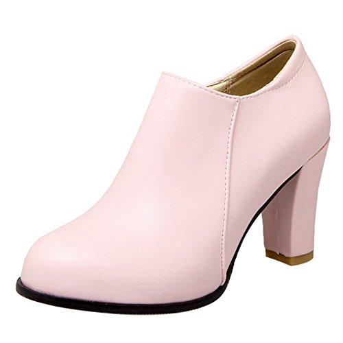 COOLCEPT Zapatos Mujer de Otono Tacon Ancho Botines Pink Size 35 Asian