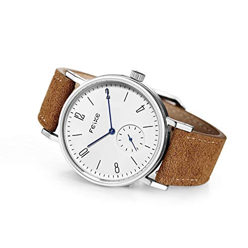 FEICE Men's Bauhaus Watch Minimalist Automatic Watch Mechancial Wristwatch Stainless Steel Leather Band Casual Dress Watches for Women Unisex #FM201 (Brown)