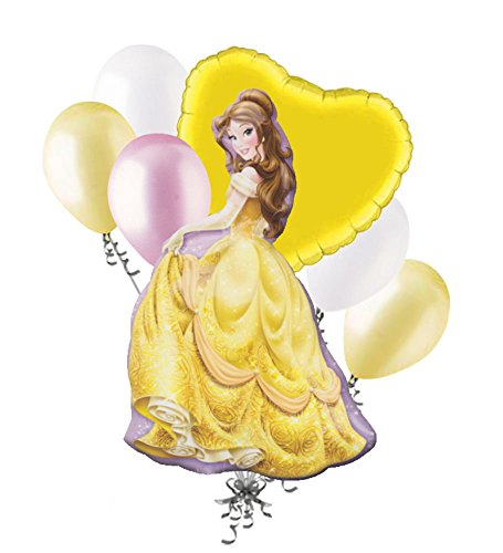 Birthday Beauty Bouquet - 7 pc Belle Disney Princess Balloon Bouquet Happy Birthday Beauty & the Beast