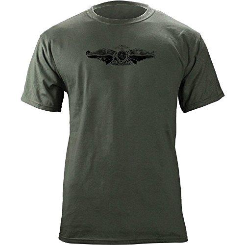 USAMM Officially Licensed Vintage Navy Fleet Marine Force Insignia Subdued Veteran T-Shirt (2XL, Green)