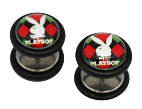 (Red Plaid Playboy Bunny Screw On Cheater Plugs (1 mm, 18 Gauge) - 2 Piece)