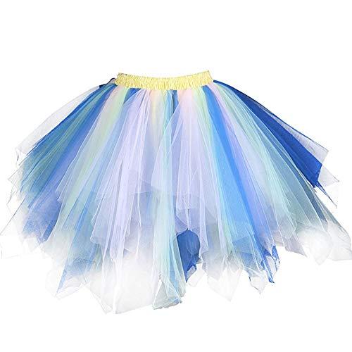 Extensible Mariage Fte Soire Photo Taille 4 Ballet Jupon Cooktail FEOYA Bouffant Carnaval Dguisement Jupette Femme 65 Tutu Tulle Noel Danse 100CM Cadeau Jupe Pliss q7BvYwH
