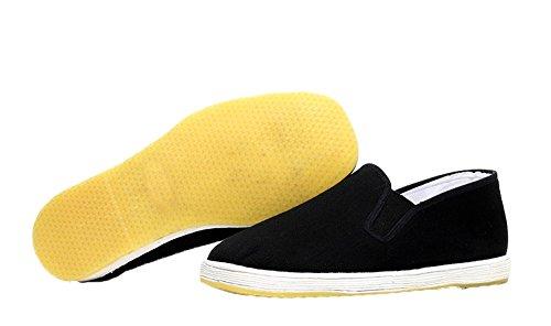zooboo Hombre Negro Gamuza Zapatos Calzado de artes marciales Kung Fu práctica Wear Ejercicio Por la mañana Tai Chi Zapatos Negro Full Tendon Soles
