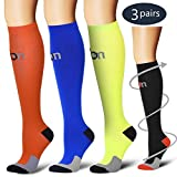 Laite Hebe Compression Socks,(3 Pairs) Compression Sock for Women & Men - Best for Running, Athletic Sports, Crossfit, Flight Travel(Multti-colors5-L/XL)