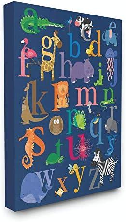 Stupell Industries Navy Alphabet Animal Icons Canvas Wall Art