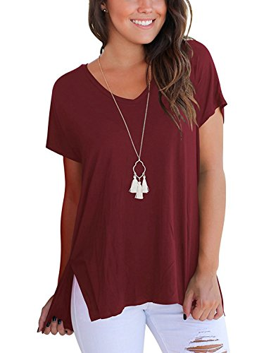 AUSELILY Women's Short Sleeve High Low Loose T Shirt Basic Tee Tops with Side Split (2XL, Wine Red) (Quality T-shirt Women Red)